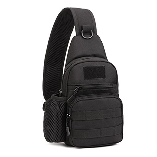 Herren Bodybag Sport Brusttasche Bauchtasche Schultertasche Reisetasche Freizeittasche für Reise Camping Hiking,Schwarz