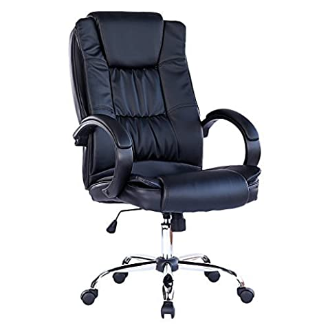 SANTANA BLACK HIGH BACK EXECUTIVE OFFICE CHAIR LEATHER SWIVEL, RECLINE, ROCKER COMPUTER DESK FURNITURE by Massage Royal