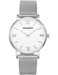 Cagarny 6812Concise Style Ultra Fina cuarzo Wrist Reloj con Stainless Steel Band (Silver)