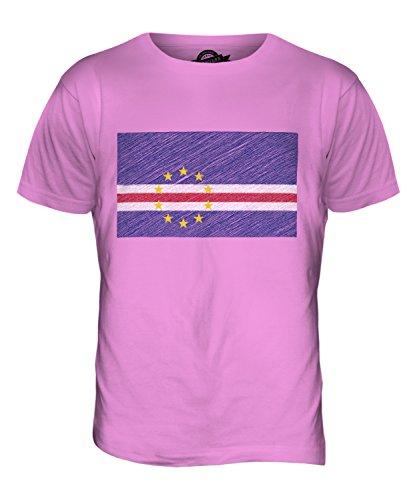 CandyMix Kap Verde Kritzelte Flagge Herren T Shirt Rosa