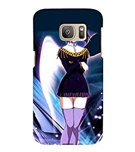 Printvisa Premium Back Cover Short Dressed Girl With Colourfull Background Design For Samsung Galaxy S7::Samsung Galaxy S7 Duos with dual-SIM card slots