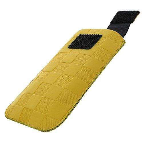 XiRRiX Handytasche mit Ausziehhilfe - M passend für Cat B30 - Emporia Pure V25 Euphoria V50 - Nokia 3310 2017 105 130 150 216 - Handy Tasche gelb Dirt Look