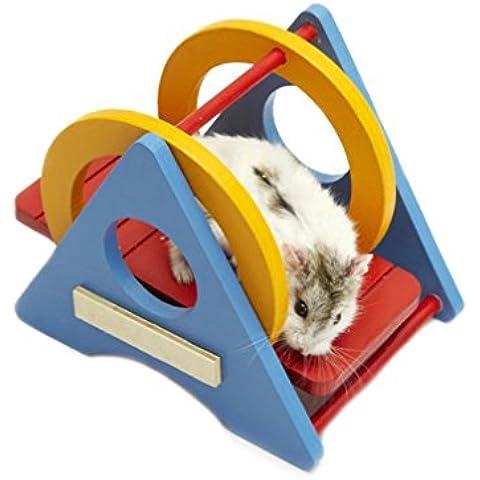 emours Pequeño Animal Parque Colorful Columpio de madera Deporte Juguete Ejercicio para Rata Hamster ratón Loro y otros animales