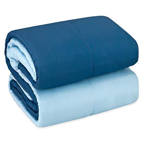 Emmevi trapunta piumone blu matrimoniale o singola double face copriletto invernale trapuntata made in italy mod.trapunta inv elegance 1 piazza blu