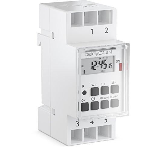 deleyCON Digitale Zeitschaltuhr zum Einbau in Schalttafeln mit LCD Display Wochenzeitschaltuhr Zeitschalter Schaltuhr Timer 3600W Weiß