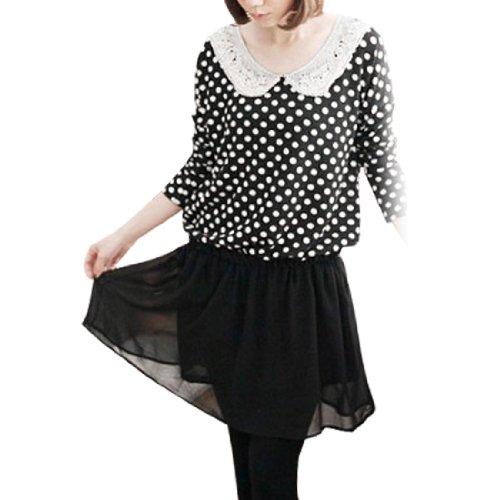 Imprimé Pois Long Chauve-souris Manche Taille Élastique Robe Noire XS pour Lady Noir