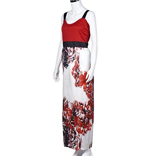 Bluestercool Femmes Robe longue Imprimée Florale Robe de soiree Plus Size Rouge