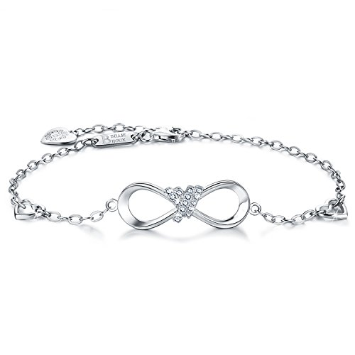 b6459900ca8e Billie Bijoux Womens 925 sterling Silver Infinity Endless Love Symbol Charm  Adjustable Women's Bracelet for Mother's Day (F)