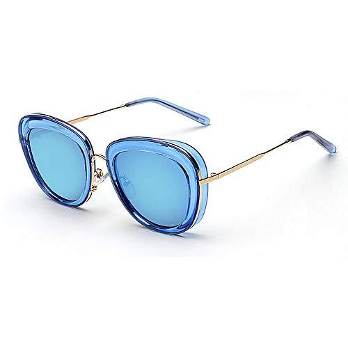 Y-WEIFENG Stilvolle klare Rahmen umrandeten Unisex-Erwachsene Sonnenbrillen UV-Schutz farbige Linse Outdoor Driving Reisen Sommer Strand Brille (Farbe : Blau)