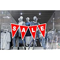 1 x wall window display sale sticker - sale triangles bunting banner - red vinyl white print cut out - self adhesive weather proof vinyl sticker label