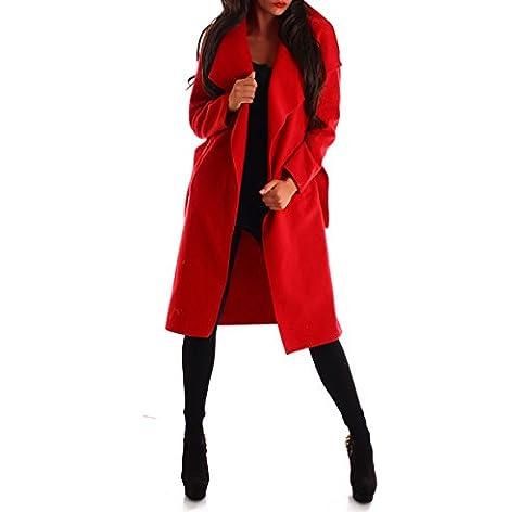 Damen Mantel Trenchcoat mit Gürtel lang (XXL, rot)