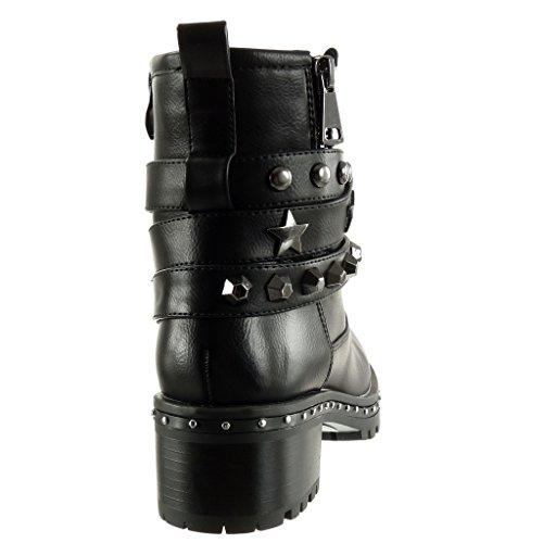 Angkorly Damen Schuhe Stiefeletten - Biker - Reitstiefel - Kavalier - Nieten - Besetzt - Multi-Zaum - Reißverschluss Blockabsatz High Heel 5 cm Schwarz