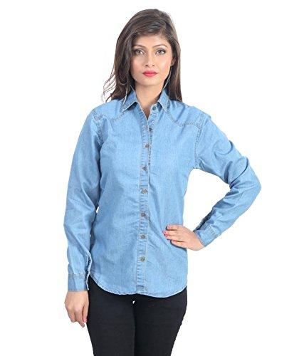Trendy frog Women Long Sleeve Denim Shirt, Light Blue, Large Size