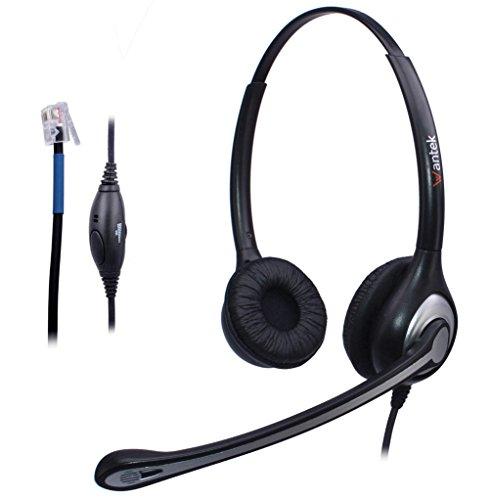 Wantek Binaural Call Center Headset mit Noise Canceling Mikrofon und Volume Mute Control für Plantronics M10 M12 M22 MX10 Verstärker oder Cisco 7931G 7940 7941 7942 7945 7960 7961 Büro IP Telefone(F602C2) (Über High-top)