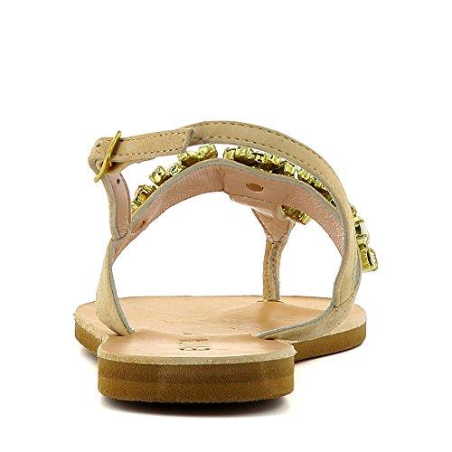 GRETA Damen Sandale Rauleder Nude