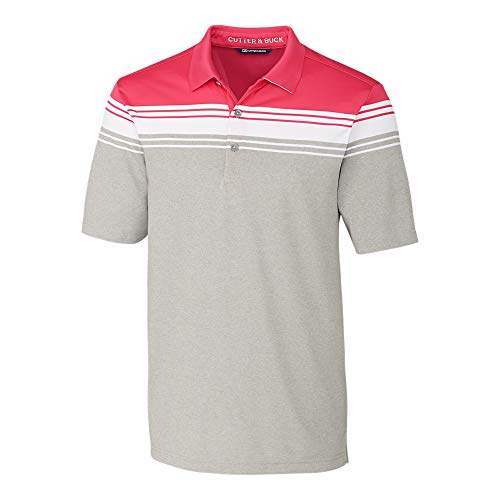 Cutter & Buck Herren Short Sleeve 3 Button Alki Valiant Stripe Polo Golf-T-Shirt, Embark, X-Groß -