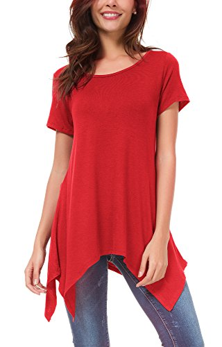 Urban GoCo Mujeres Casual Tallas Grandes Camiseta Camisa Manga Corta Pañuelo Dobladillo Túnica Top Rojo 3XL