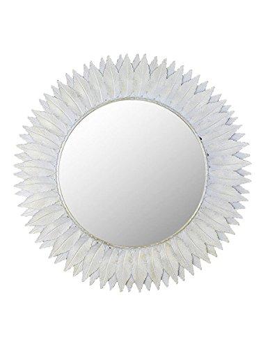 Montemaggi Spiegel rund mit Bilderrahmen Federn weiße Variante Unica