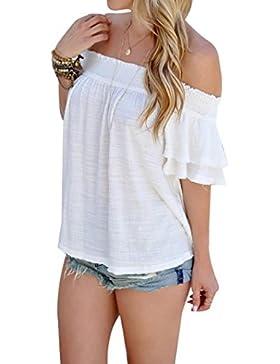 Yeamile💋💝 Camiseta de Mujer Tops Suelto Blusa Causal Camisetas Ocasionales Moda Blusa Blanca con Hombro de Manga...
