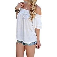 Yeamile Camiseta de Mujer Tops Suelto Blusa Causal Camisetas Ocasionales Moda Blusa