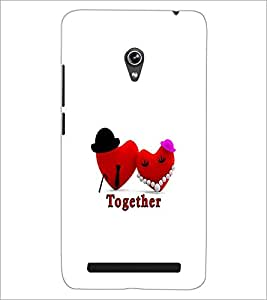 PrintDhaba Love Hearts D-1190 Back Case Cover for ASUS ZENFONE 6 A601CG (Multi-Coloured)