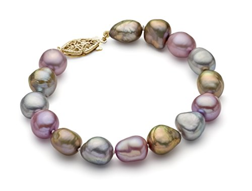 Bracelet multicolor perle de culture d'eau douce 9-10 mm AA + qualité, 19,1 cm