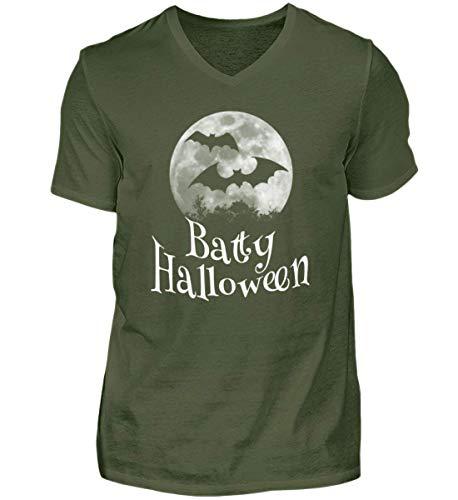 Batty Happy Halloween - Gruselige Fledermäuse vor Stylischem Vollmond an Samhain - Herren V-Neck Shirt