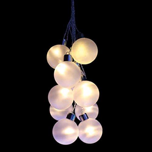 Kugeln-Traube LED zum Aufhängen Traube mit 10dekorierten Glas-Kugeln mit LED warmweiß aus Glas Durchmesser 8cms (Trauben-weihnachtsbeleuchtung)