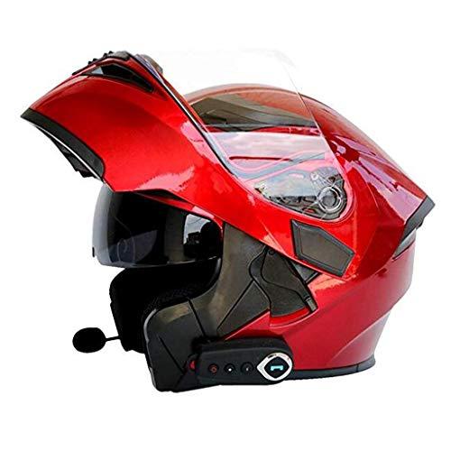Motorrad Bluetooth Helm, intelligenter Multifunktionshelm automatische Antwort/Schlagmusik Full Face FM Doppelspiegel Anti-Fog-Helm für Erwachsene (rot) (Size : L) (Antwort Helm Racing)