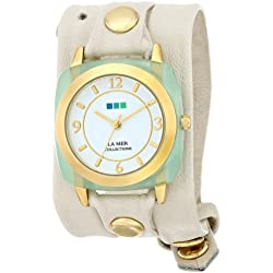 La Mer Damen Simple Leather Strap Gold/Cream