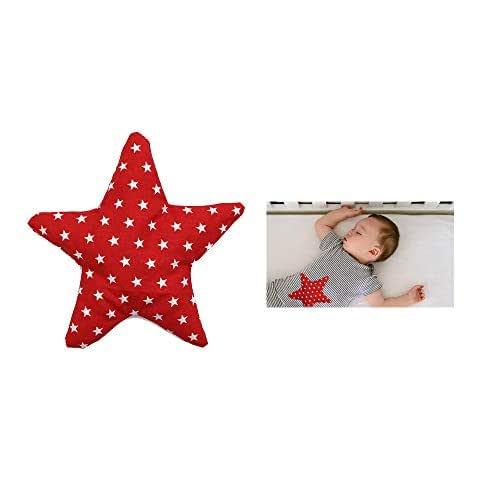 """Sacca termica per alleviare le coliche nei neonati """"Stella Rossa"""" - contiene 150 g di noccioli di ciliegia - Per alleviare coliche, gas, dolori addominali dei bambini, ecc. – 18x18cm - 100% cotone"""