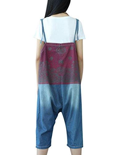 Youlee Damen Jahrgang Denim Latzhose Hosenträger Hosen Style 3 Blau