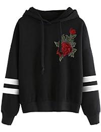 e280709a811a Amlaiworld Sweatshirts Komfortabel locker Blumen Stickerei Sweatshirt Damen  Stripe Pullover mit Kapuzen Herbst Winter Sport Pulli