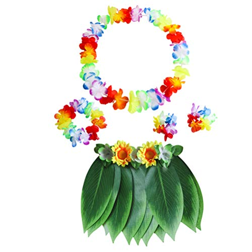 Strand Themen Kostüm Schmuck - Amosfun Hawaii Kostüm Tropical Hula Grass