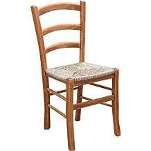 biscottini chaise rustique style finition naturelle structure en htre assise paille l45 x pr45 x h88 - Chaise Hetre Assise Paille