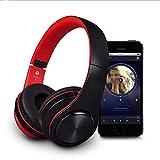 Kopfhörer,Headset Bluetooth Headset schnurloses Telefon Musik Faltbare laufende Subwoofer Stereo Headset Headset, rot