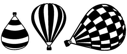 plot4u Heißluftballon Wandtattoo Ballon 3er Set in 6 Größen und 19 Farben (25x9,4cm schwarz)