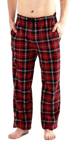 Herren Klassischer Karierter Polar Unterteil Pyjama Fleece Flausch Hausanzughose Schlafanzughose Nachtanzug (Rot) L (Herren Hose Pyjama)
