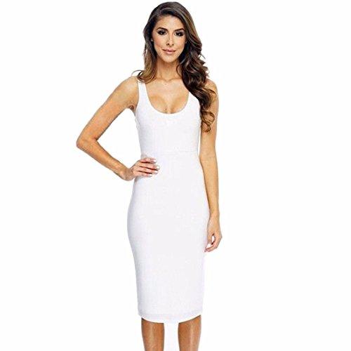 Qiyun 4a-9tlh-eaty–Robe pour femme Blanc