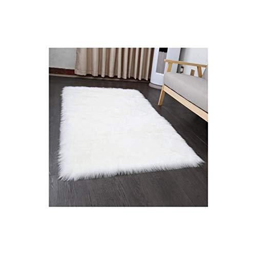 Faux Lammfell Schaffell Teppich 80 x 150 cm Nachahmung Wolle Wohnzimmer Teppiche Lange Fell Flauschig Weiche Schaffell Bettvorleger Matte (Weiß)