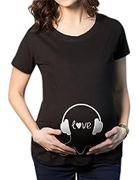 JYR Echar un vistazo de maternidad Amor M¨²sica Embarazo Camisetas de humor calientes camisas de regalos que vende Mujeres - Brown