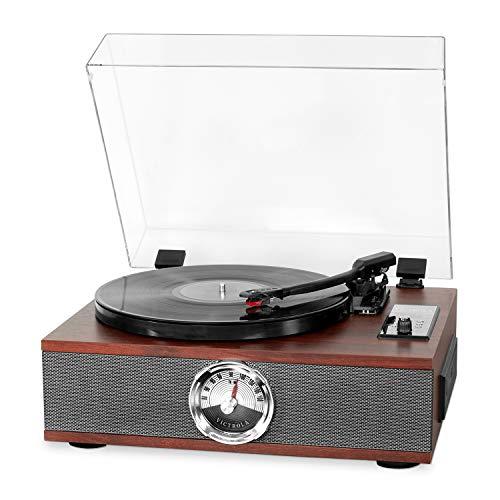 Victrola Park Avenue Vynil Music Centre 5-1 - Expresso, giradischi a 3 velocità, lettore CD, radio FM, Bluetooth e presa AUX-IN da 3,5mm
