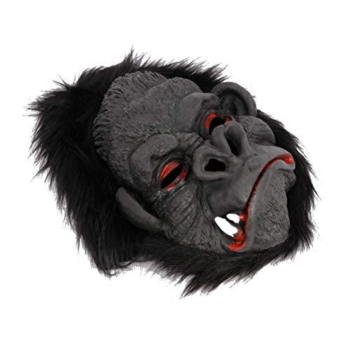 Amosfun Big Ear Gorilla Mask Simulationsmaske Halloween Cosplay Requisiten (1 stück Heftige Orang-Utan Maske +1 Paar Orang-Utan Fuß)