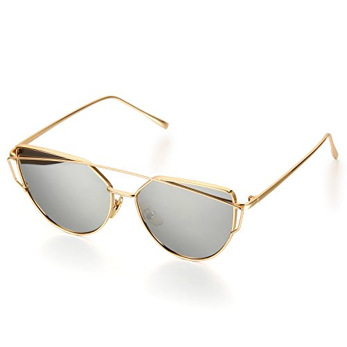 Aroncent Twin-Träger Klassische Frauen Metallrahmen Spiegel Sonnenbrille, Silber
