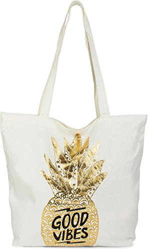 styleBREAKER Shopper Einkaufstasche mit Gold Ananas und 'Good Vibes' Print, Reißverschluss, Strandtasche, Stofftasche, Tasche, Damen 02012222, Farbe:Weiß / Gold (Ananas-palme)