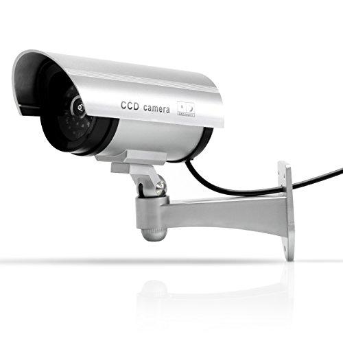 Überwachungskamera Attrappe – Batteriebetrieben, ca. 17 x 17 x 9 cm – LED Sicherheitskamera Nachbildung – Grinscard