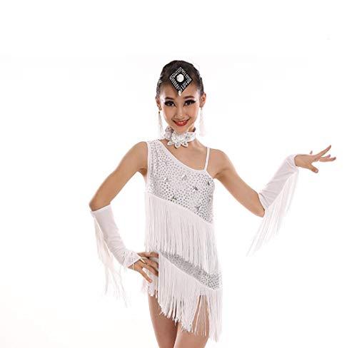 Tanzkostüm Und Grüne Schwarze - YZLL Latin Dance Kleid FüR Kinder, Kinder Kinder Pailletten Fringe BüHnenkostüM TanzkostüM Wettbewerb Weiß Lila GrüN Schwarz,White,110CM