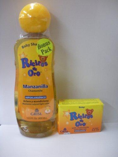Grisi Ricitos De Oro Hypoallergenic Chamomile(manzanilla) Shampoo 13.5oz + Baby Soap 3.5oz by Ricitos De Oro (Manzanilla Grisi Shampoo)