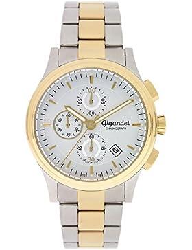 Gigandet Quarz Herren-Armbanduhr Traveller Chronograph Uhr Datum Analog Edelstahlarmband Silber Gold G44-004