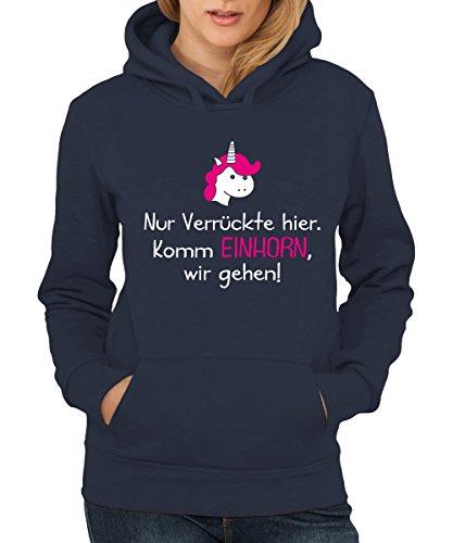 -- Komm Einhorn, wir gehen -- Girls Kapuzenpullover Navy